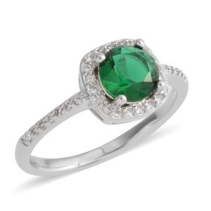 Jewelry - Simulated Emerald, Simulated White Dia. Ring